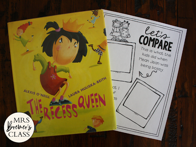 Recess Queen book study literacy unit with Common Core aligned companion activities K-1