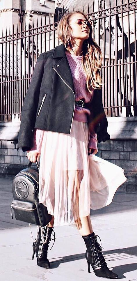 fall fashion trends / jacket + bag + top + skirt + boots