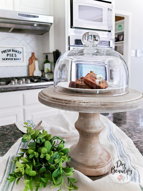 wood pedestal with baked treats