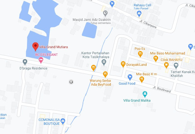 Map Letak Hotel Villa Grand Mutiara Tasikmalaya
