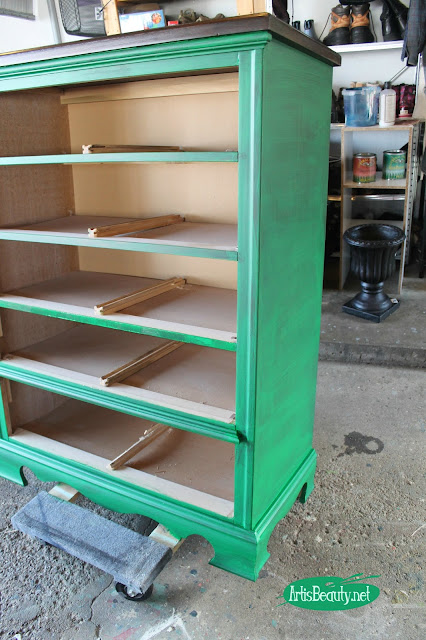 first coat of paint emerald green general finishes water based milk paint painted dresser makeover