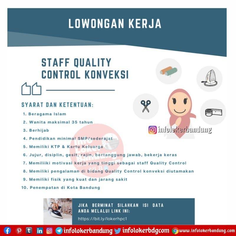 Lowongan Kerja Staff Quality Control Konveksi Bandung Juni 2021