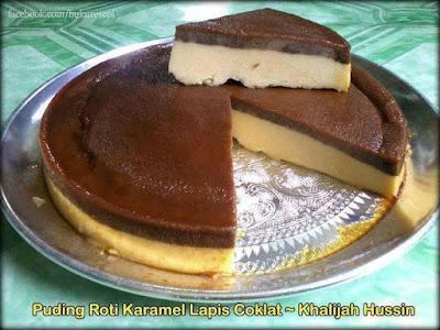 Puding Roti Karamel Lapis Coklat Yang Sedap
