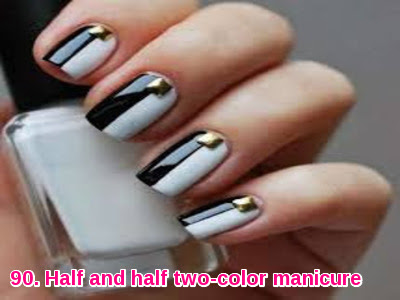 Half and half two-color manicure