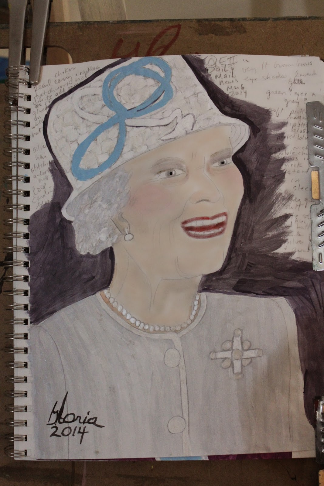Queen Elizabeth II sketch by Gloria Poole of Missouri, 9-Apr-2014;acrylics