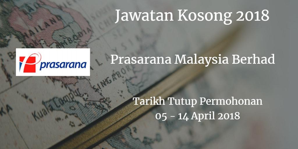 Jawatan Kosong Prasarana Malaysia Berhad 05 - 14 April 2018