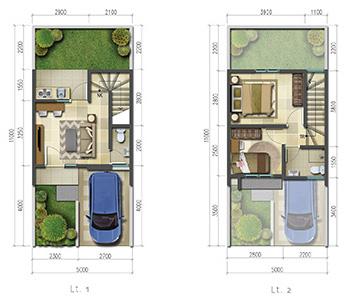 Denah rumah minimalis ukuran 5x11 meter 2 kamar tidur 2 lantai