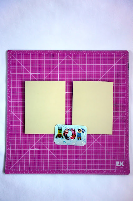 self-healing mat, card stock, bone folder, how to repurpose an empty gift card