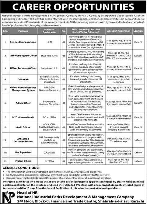 National Industrial Parks Development NIP Karachi Jobs 2020 for Assistant Manager Legal, Technical Support Officer, Audit Officer, Project Officer & more