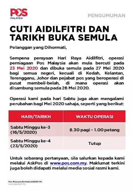 Tarikh Operasi Pos Malaysia Dan Pos Laju Pada Cuti Hari Raya Aidilfitri 2020 Layanlah Berita Terkini Tips Berguna Maklumat