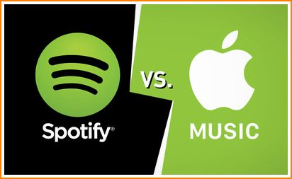 gambar logo Spotify lawan Apple Music