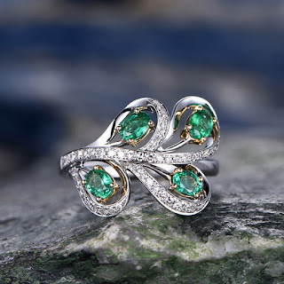 0.58 Carat Natural Emerald Wedding Ring 14K White Gold Diamond Engagement Ring Art Deco Ring Unique Antique Design
