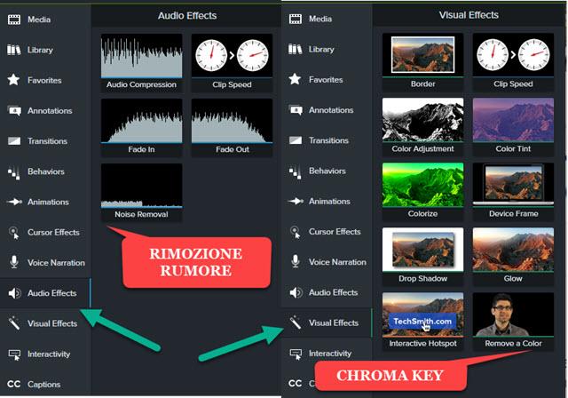 audio e visual effects su Camtasia