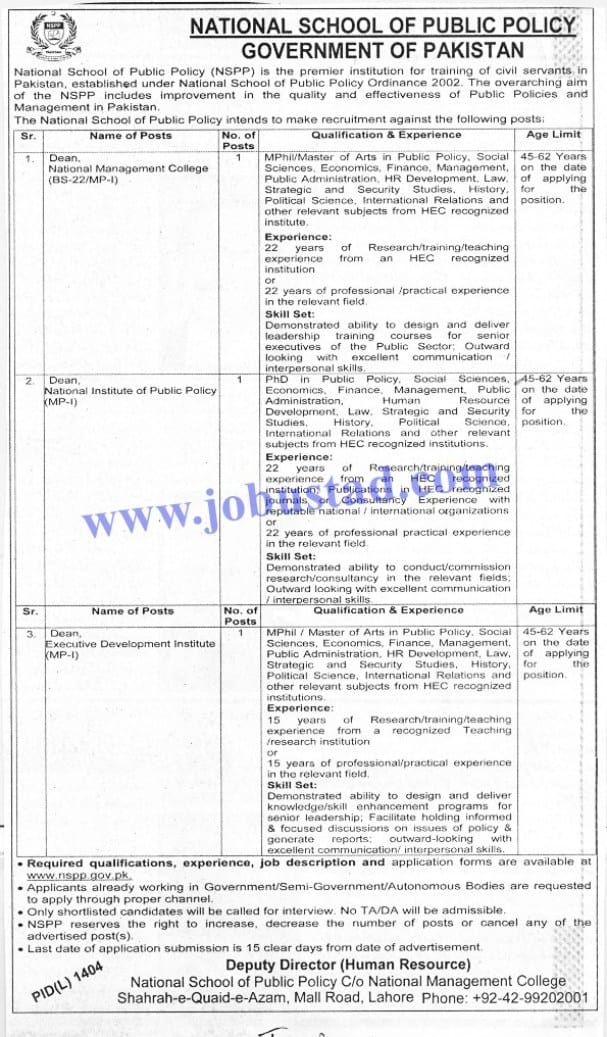 Jobs in National School and Public Policy NSPP Nov 2020