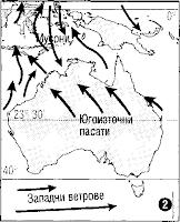 Посоките на ветровете в Австралия