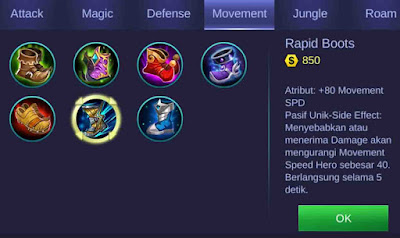 Rapid Boots item Mobile Legends Kimmy