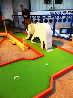 An elephant obstacle on the Brean Sands indoor Crazy Golf course