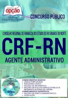 Apostila Impressa: CRF/RN 2017 (GRÁTIS download) Agente Administrativo (PDF) e Vídeo aula