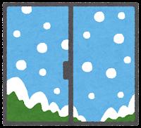 窓の外の天気のイラスト(雪)
