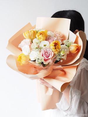 Contoh Buket Bunga Dengan Flower Wrapping Paper Seri OY