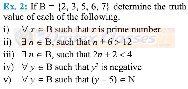 If B = {2, 3, 5, 6, 7} determine the truth value of ∀ x ∈ B such that x is prime number.