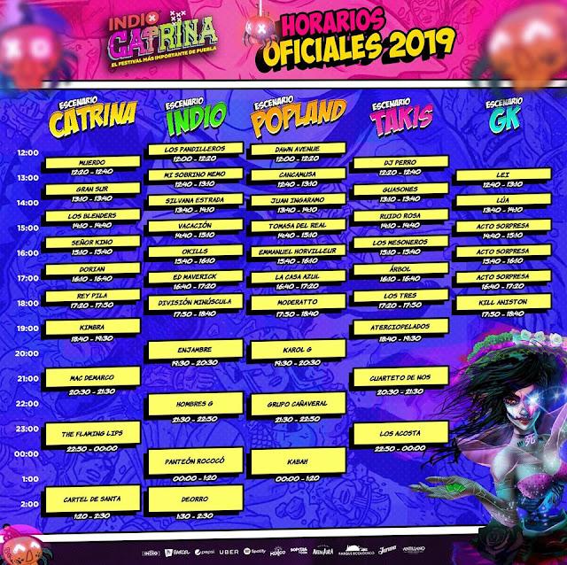 horarios conciertos festival catrina 2019