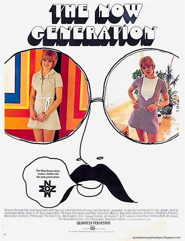 Vintage mini dress clothing advertisement  from Seventeen magazine April 1970