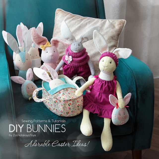 DIY Easter bunnies with sewing patterns & tutorials