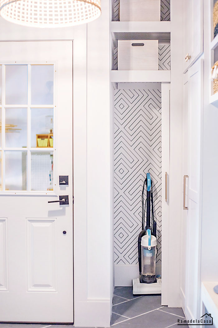 Mudroom - cleaning cabinet storage