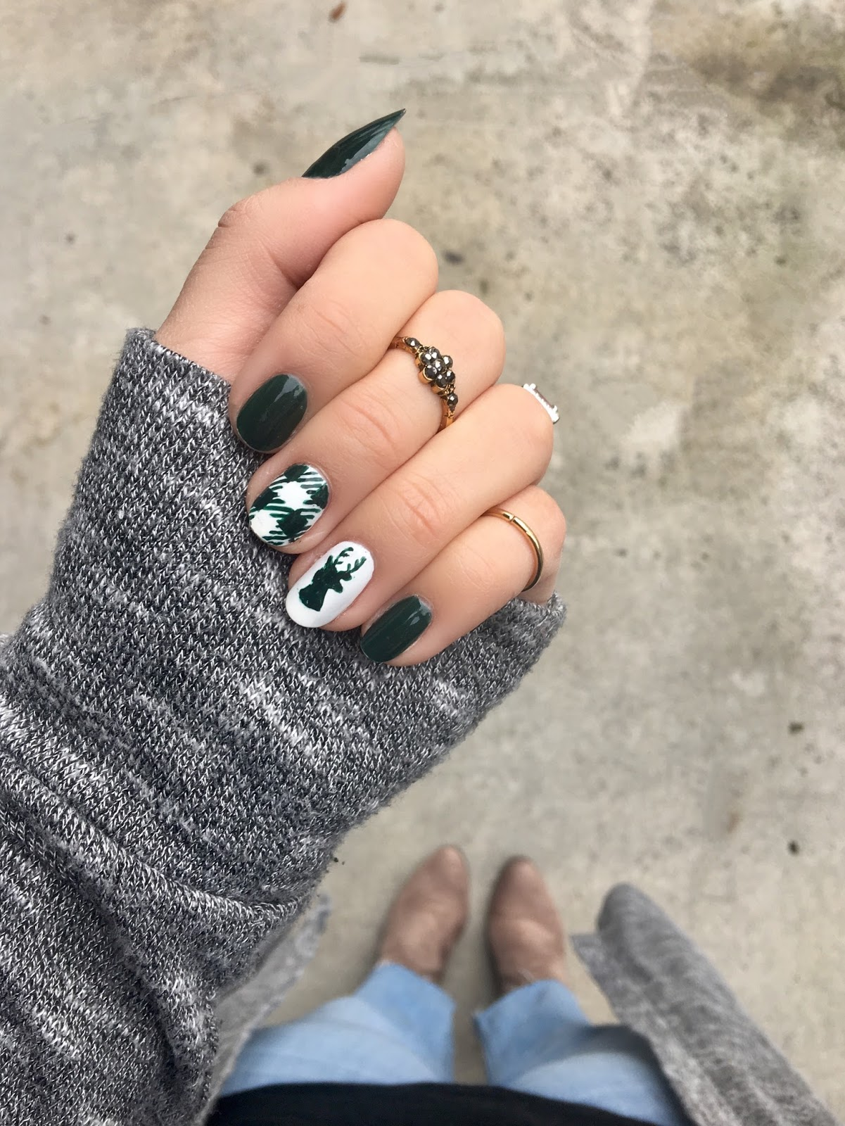 It\'s because I think too much: Buffalo Check + Deer Head Nails