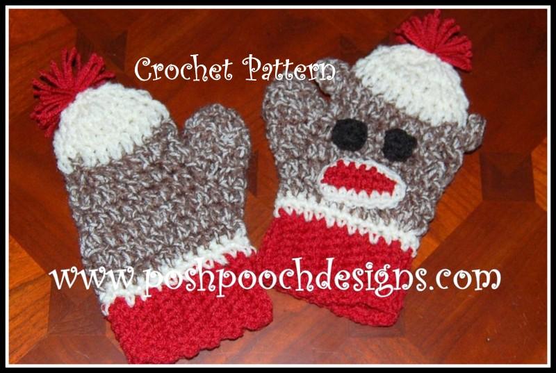 Posh Pooch Designs Dog Clothes Sock Monkey Mittens Crochet Pattern