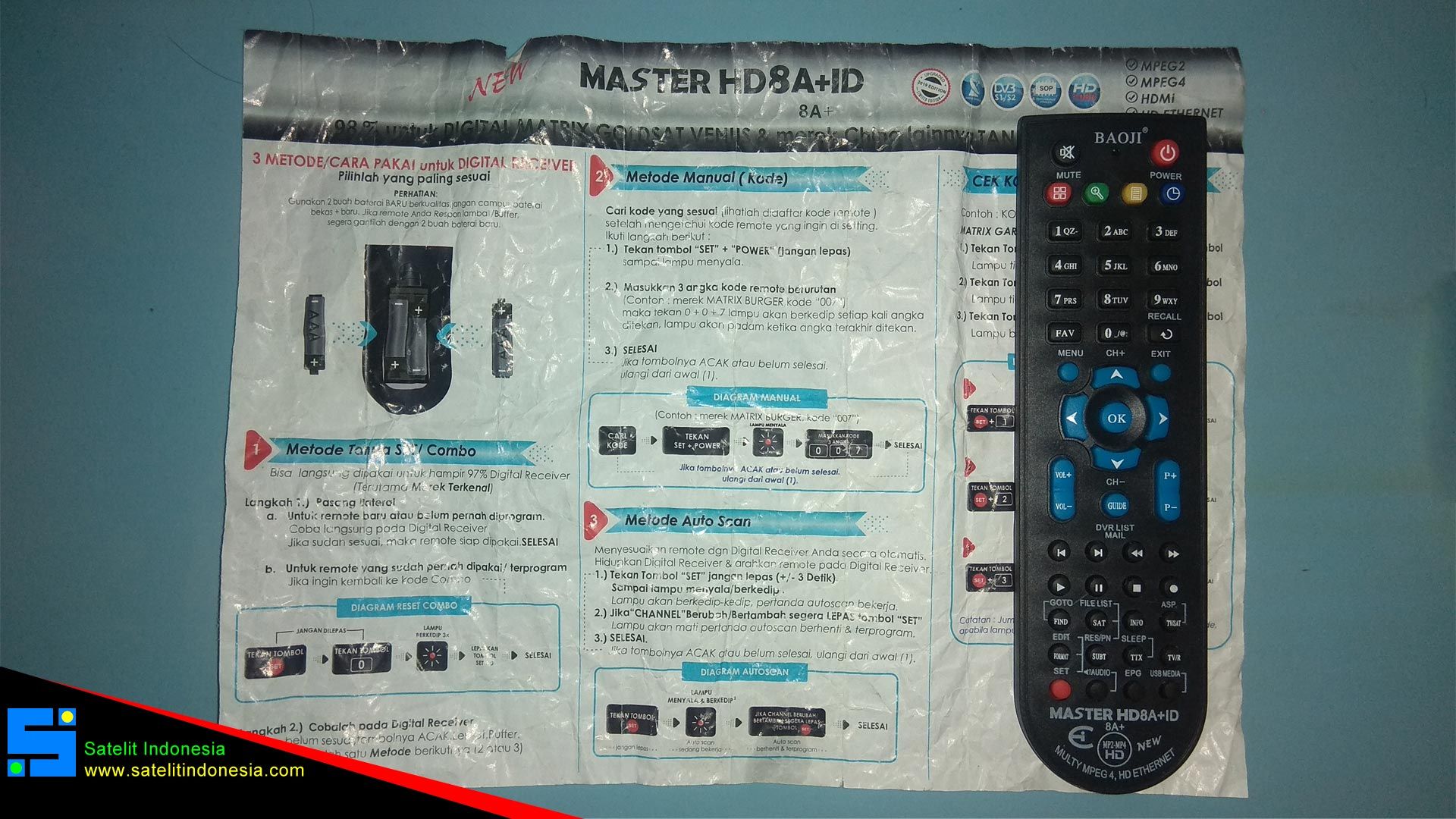 Cara Setting Remote Universal Baoji Master HD8A+ID