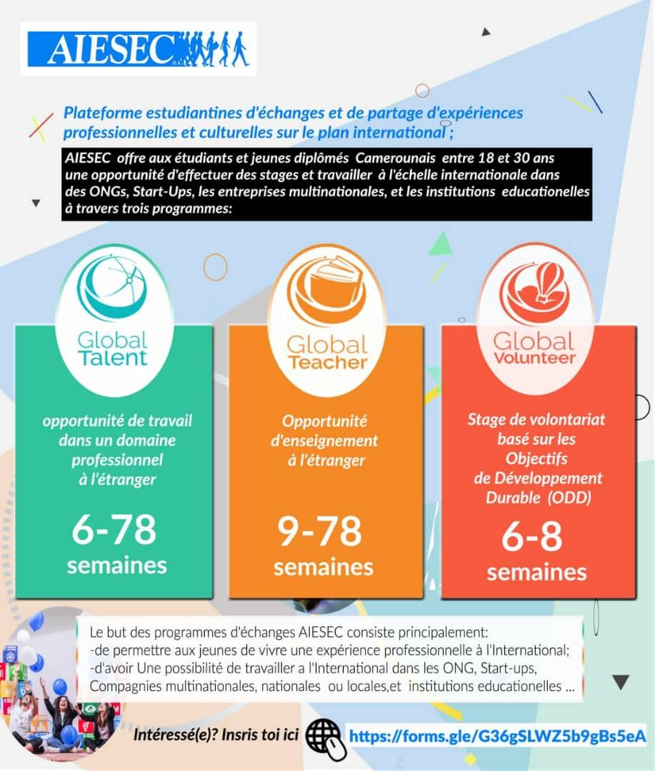 La Plateforme estudiantines AIESEC offre des Stages aux étudiants dans des ONGs, Start-Ups, les entreprises multinationale