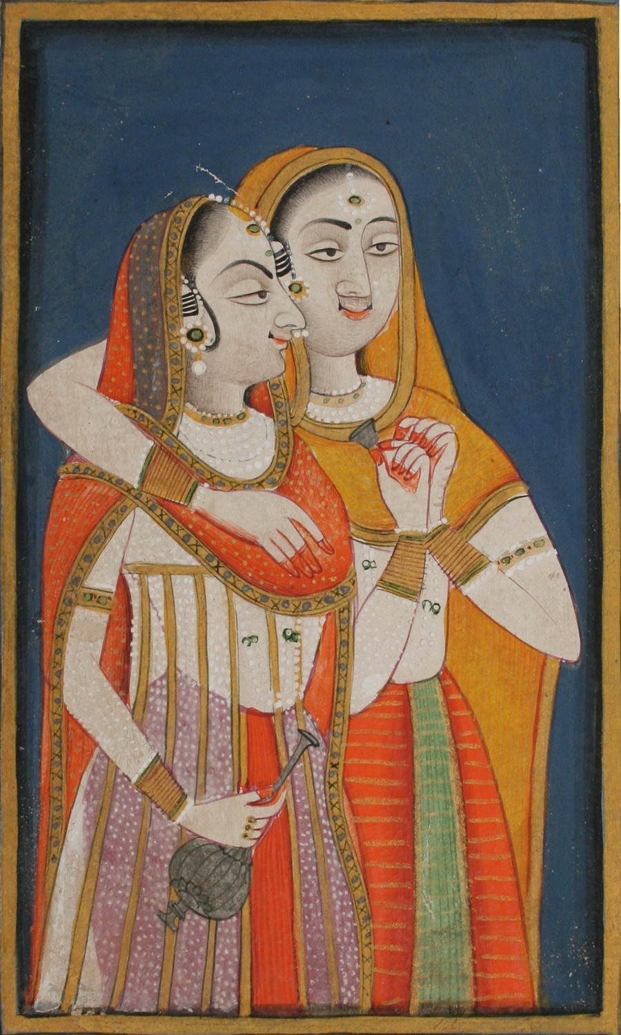Drunken courtesans with wine flask and cup - Rajput Painting, Mewar, c1820-30