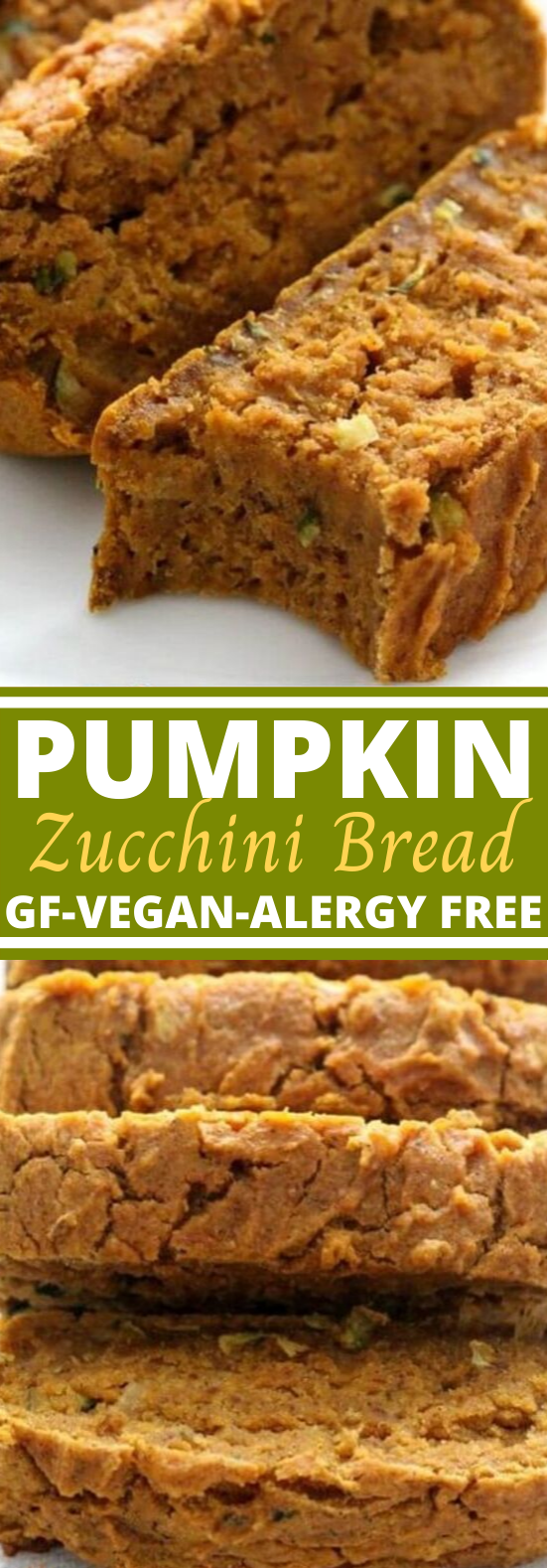 Gluten-Free Pumpkin Zucchini Bread (Vegan, Allergy-Free) #vegan #breakfast #healthy #bread #recipes