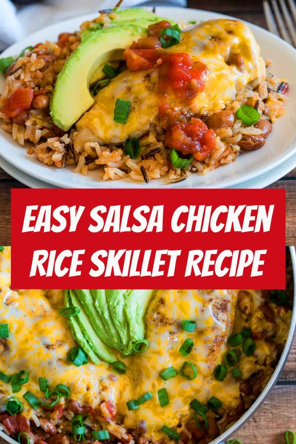 Easy Salsa Chicken Rice Skillet is a complete meal made with organic ingredients, in just one pan and in less than 30 minutes! #salsa #chicken #rice #skillet #salsachicken