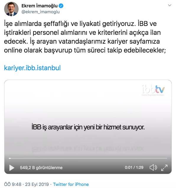 İstanbul Büyükşehir Belediye Başkanı Ekrem İmamoğlu, Twitter hesabından yaptığı paylaşımla İBB personel alımlarında yeni dönemin başladığını duyurdu.