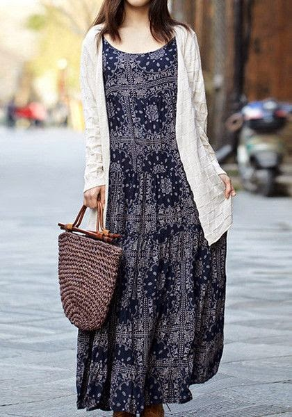 navy drop waist maxi dress