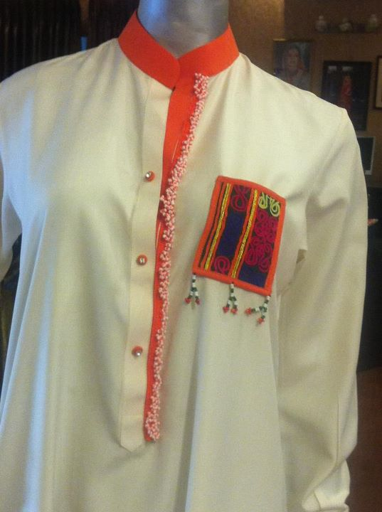Sindhi Machine Embroidery Kurta in BoskiLinenCotton by