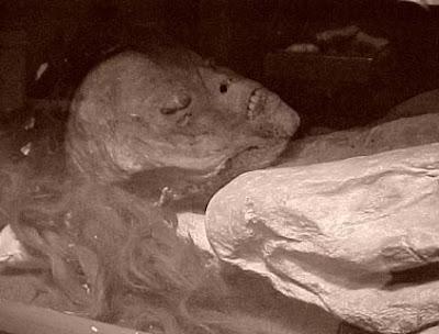 Foto a una momia mujer de Guanajuato con cabello