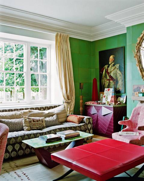 green walls drawing room