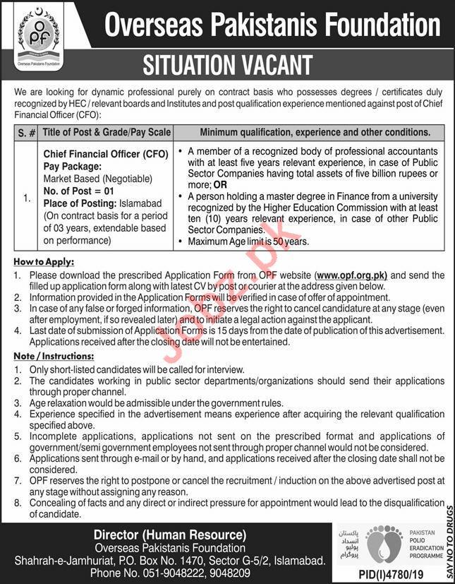 Jobs in Overseas Pakistani Foundation 2020