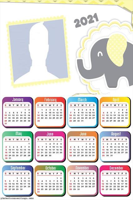 Elefante Amarillo: Calendario 2021 para Imprimir Gratis.