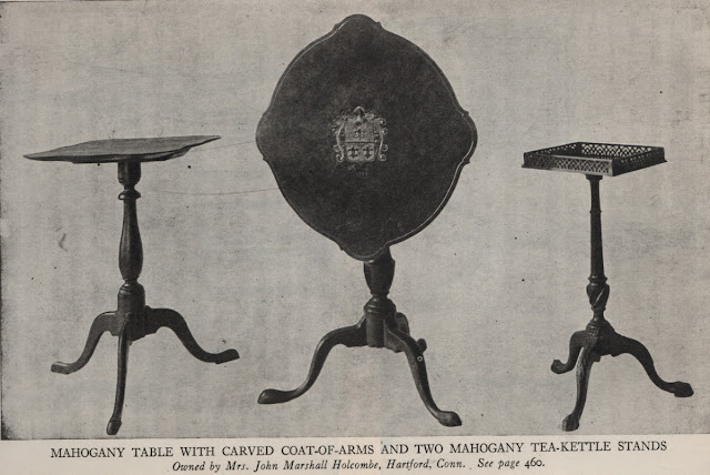 antique mahogany table and tea kettle stands