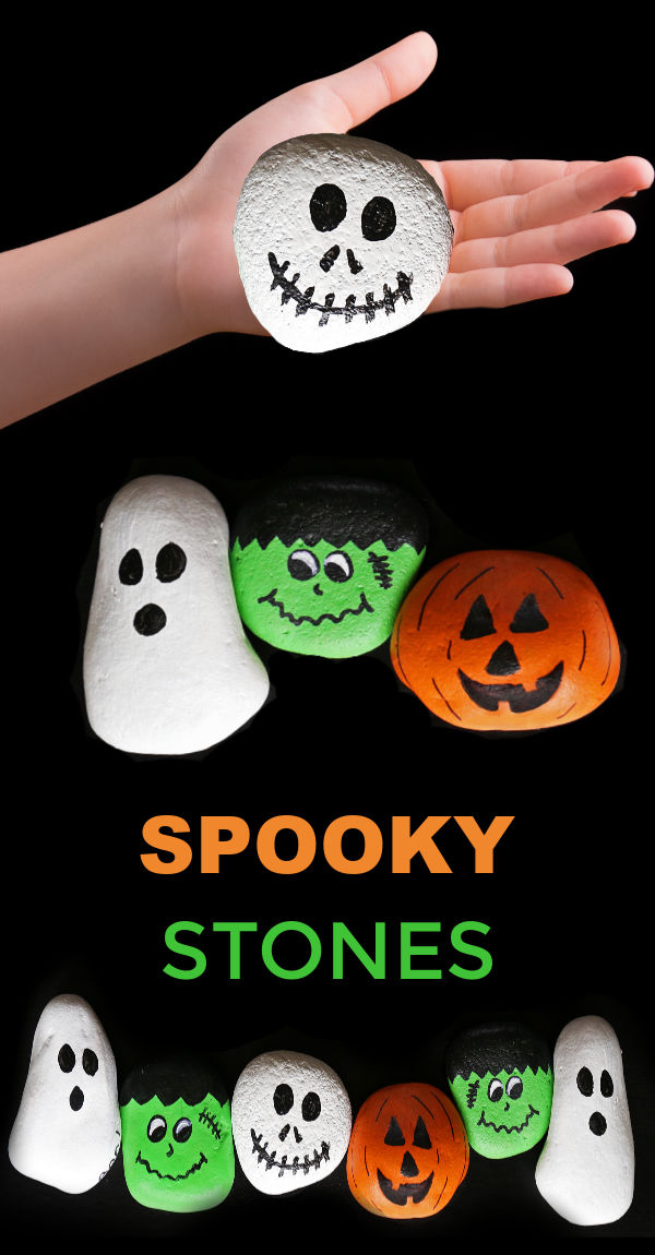 Halloween rock painting is a simple and fun craft great for kids of all ages.  This tutorial includes several types of spooky stone ideas. #rockpaintingideas #rockcrafts #halloweenrocks #halloweenrockpaintingideas #spookystonepainting #spookystones #halloweencrafts #growingajeweledrose #activitiesforkids #halloween