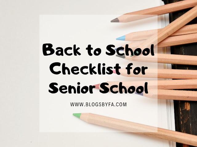 Back to School Checklist for Senior School