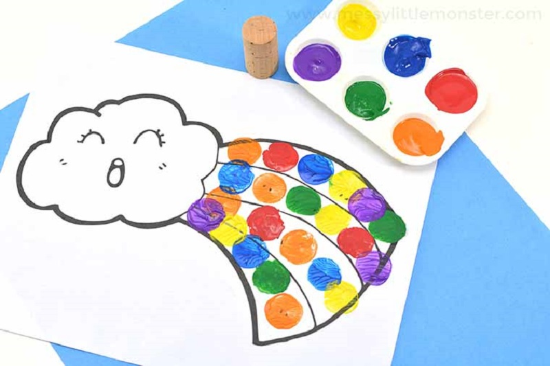 rainbow cork painting with free template