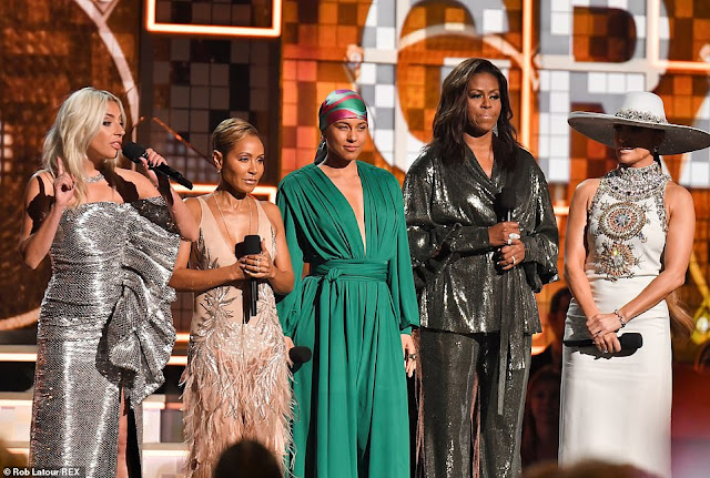 Michelle Obama Makes Surprise Appearance at the Grammys as She Joins Alicia Keys, Jennifer Lopez, & Others on Stage