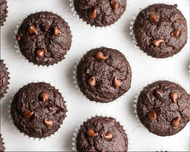 Healthy Vegan Chocolate Chip Muffins #healthy #breakfast