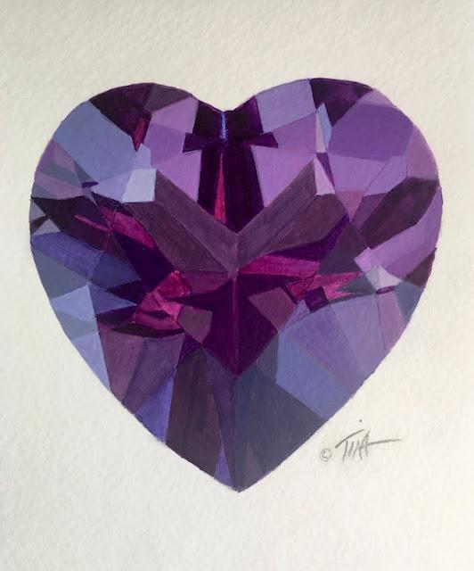 Acrylic painting of purple amethyst stone ©2021 Tina M.Welter